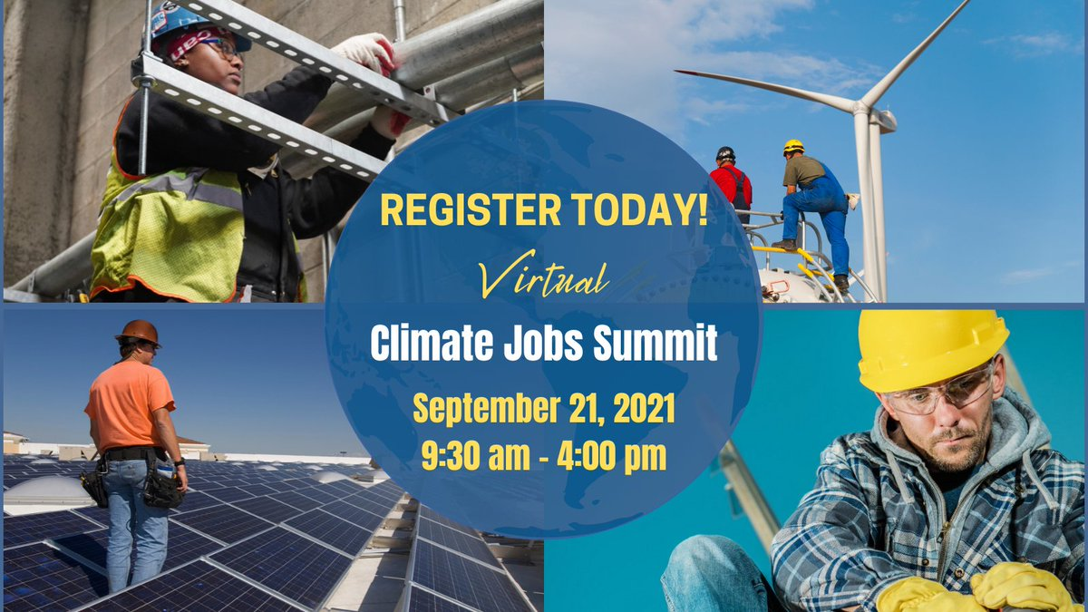 Labor is leading the fight for climate action! Register now for the #ClimateJobsSummit on September 21 to hear from leaders in the climate jobs movement about building a worker-centered renewable economy. bit.ly/ClimateJobsSum…