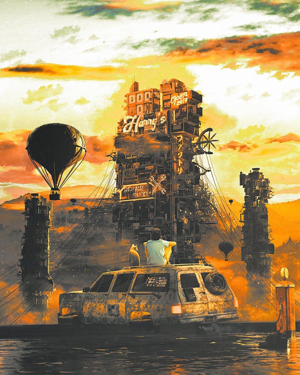 Wasteland sci-fi #art by Dangiuz (Leopoldo D'Angelo) on artstation (#Milan, #Italy) #Digital3D #scifi #scifiart #cyberpunk #steampunk #cats