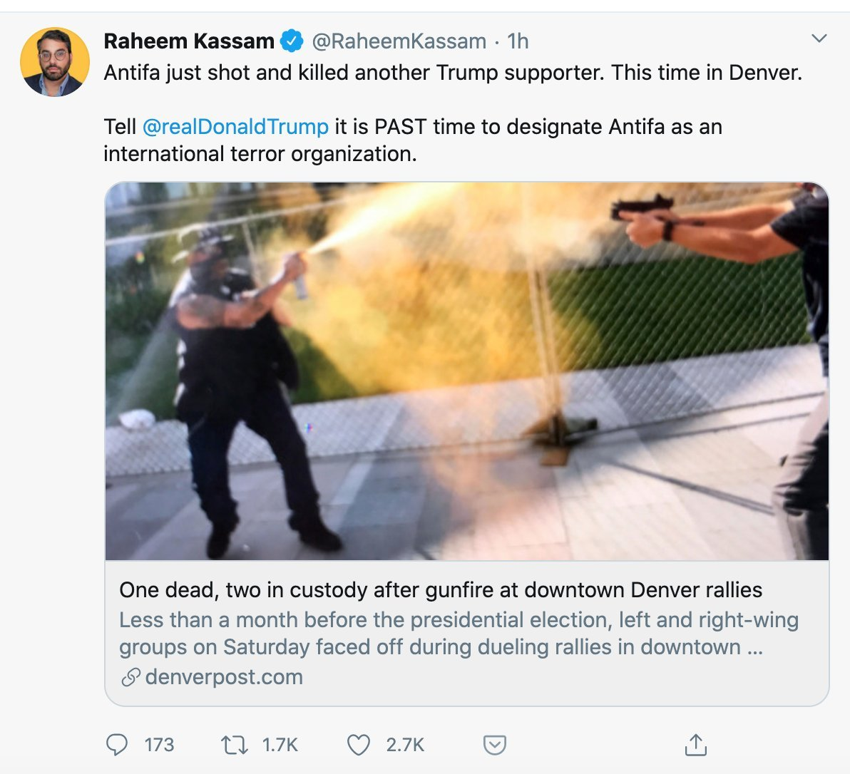 On October 10, 2020, Andy Ngo joined a handful of large alt-right accounts to spread false rumors that a Trump supporter was killed by a 'left-wing protester'.  In fact, the Trump supporter was shot while attacking a professional security guard hired to protect 9NEWS reporters.