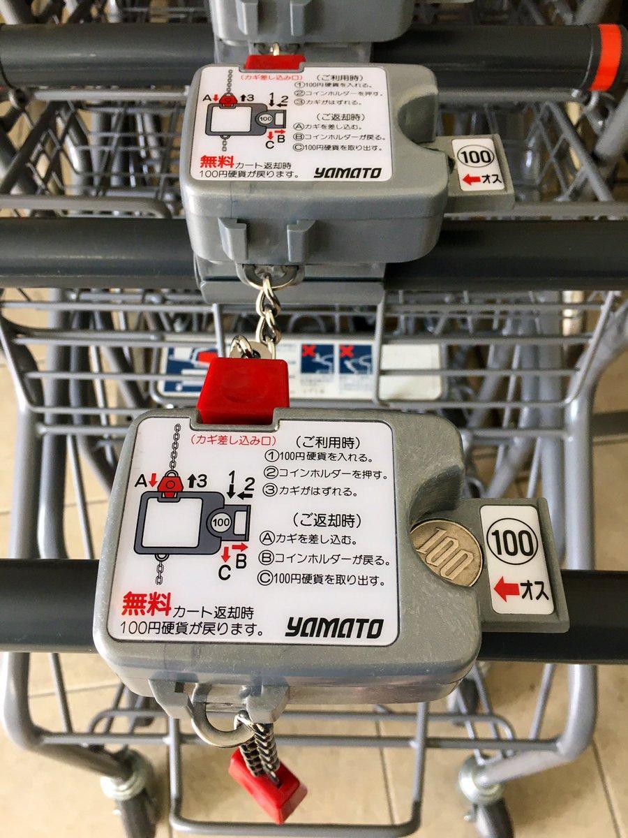 100円を人質にとるだけでショッピングカートが所定位置に戻る、って 考えた人天才だよね🛒