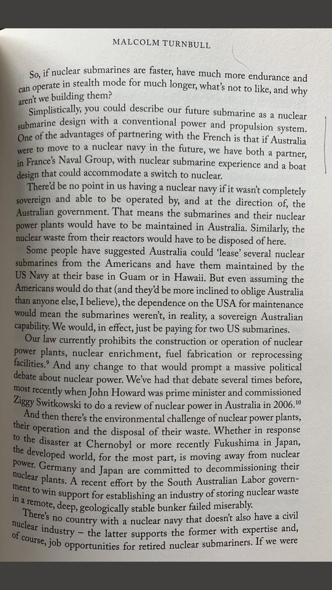 France was willing to provide nuclear subs to Australia. But Australia wanted diesel subs that had the capability to be converted to nuclear if desired, and @navalgroup could do that, writes former Australian PM @TurnbullMalcolm in his book.