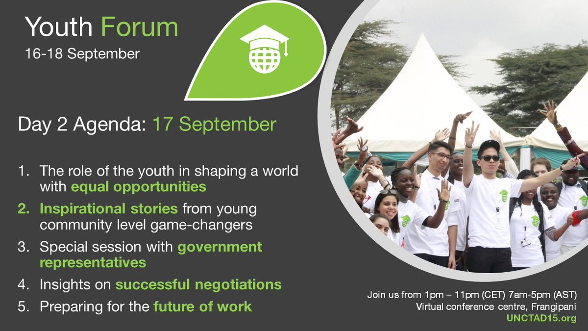 The #UNCTAD15 Youth Forum continues today. Don't miss the incredible sessions and inspirational stories as well as skills-building sessions on the future of work and negotiating. Join the virtual conference centre here: bit.ly/3kkV8Gh Program: unctad15.org/youth-forum