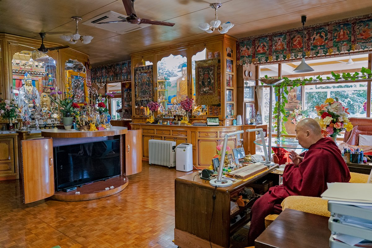 HHDL engaged in his morning meditation practice at his residence in Dharamsala, HP, India. (Photo by Tenzin Jamphel)