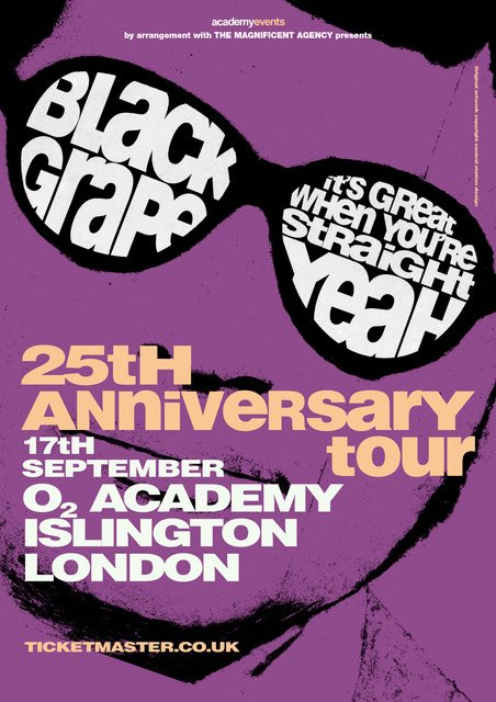 TONIGHT… Black Grape play @O2Islington Academy 1 with guests @TheCrooksUK + @RosellasBand!! 😎 Tickets: ticketmaster.co.uk/event/1F005A68… #BlackGrape #ShaunRyder #KermitLeveridge #TheCrooks #TheRosellas #London @This_Feeling @scottsmenswear