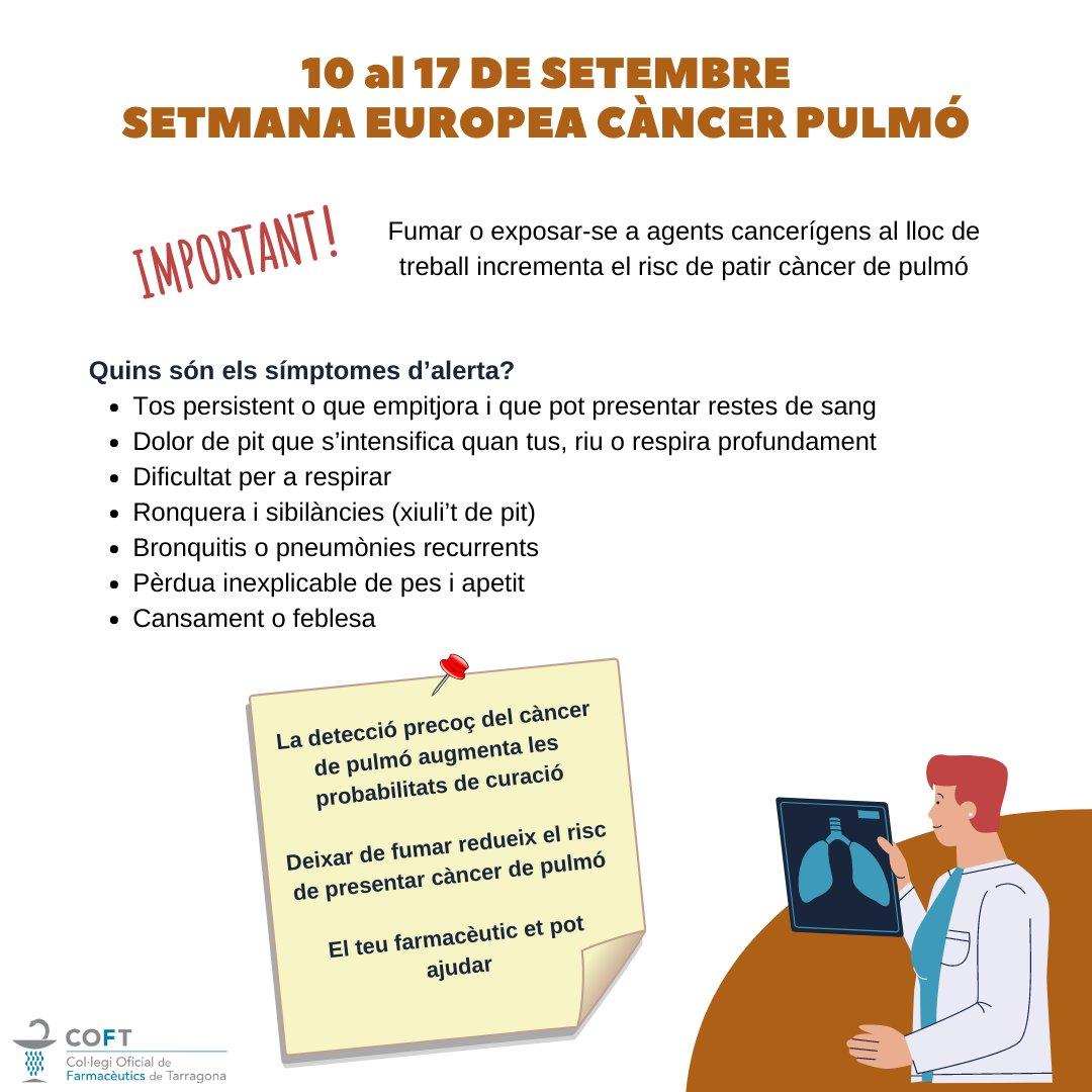test Twitter Media - 📣 Del 10 al 17 de setembre Setmana Europea del Càncer de Pulmó   ℹ️ Fumar o exposar-se a agents cancerígesn al lloc de treball incrementa el risc de patir càncer de pulmó  👉 Coneix els símptomes d'alerta i demana ajuda a la teva farmàcia de confiança  #SECàncerPulmó https://t.co/SddeC9HPza