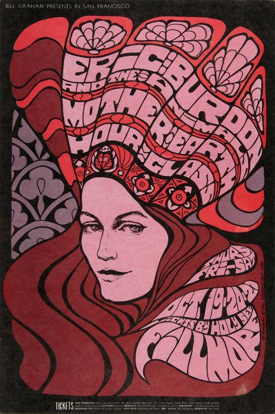 Bonnie MacLean, US artist known for her 1960s and 70s classic posters using an iconic psychedelic art style to promote rock bands and their concerts #WomensArt