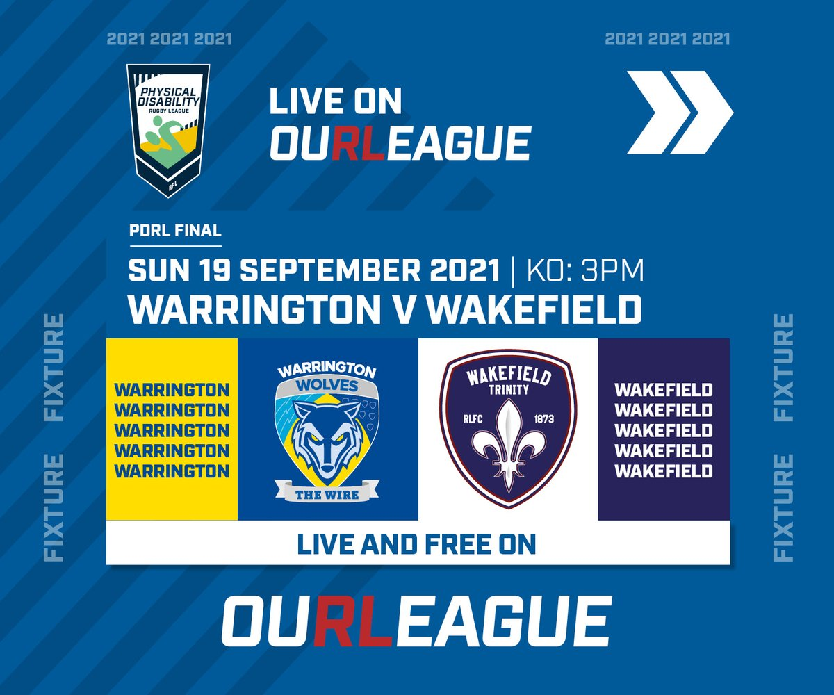Tomorrow's timings for our @WarringtonRLFC #PDRL Grand Final double header in York🏉  🐺 Our Wire PDRL v @leedsrhinos KO 1.30pm   🐺 Our Wolves PDRL v @WTrinityRL PDRL KO 3pm  You can be there in York to watch both matches live, plus the 3pm match is being streamed on #ourleague