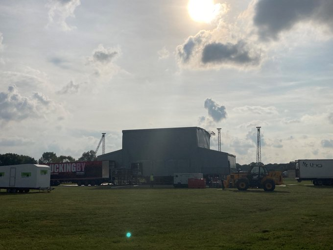 The Main Stage is set as the sun sets in Kent on the eve of a mammoth weekend of concerts featuring headline legends @ollymurs and @RealSirTomJones  plus support acts. We're super excited to host such talent at The Hop Farm. One more sleep to go.... ht...