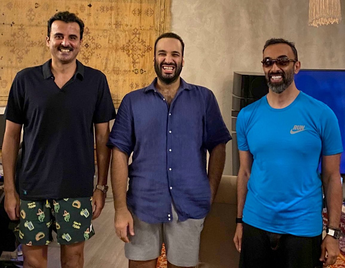 "The Saudi Crown Prince and de facto ruler, Mohammed bin Salman (MbS), the Qatari Emir, Tamim Bin Hamad Al Thani, and the Emirati National Security Advisor (NSA), Tahnoun bin Zayed Al Nahyan, holding a ""brotherly meeting"" near the Red Sea on Friday"