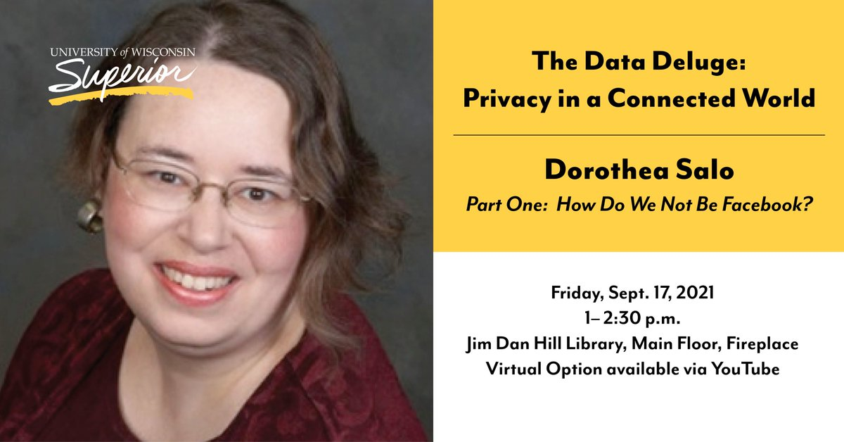 Join us today at 1 p.m. on the UW-Superior YouTube channel as Dorothea Salo, an expert on digital information at the iSchool at ...