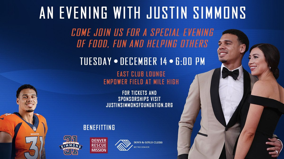 💥 SAVE THE DATE❕ AN EVENING WITH JUSTIN SIMMONS will take place on December 14th at Empower Field at Mile High and benefit Denver charities. 🧡💙 Join @jsimms1119 for his first in-person foundation event in Denver! Tickets And Sponsorships: justinsimmonsfoundation.org/events/evening…