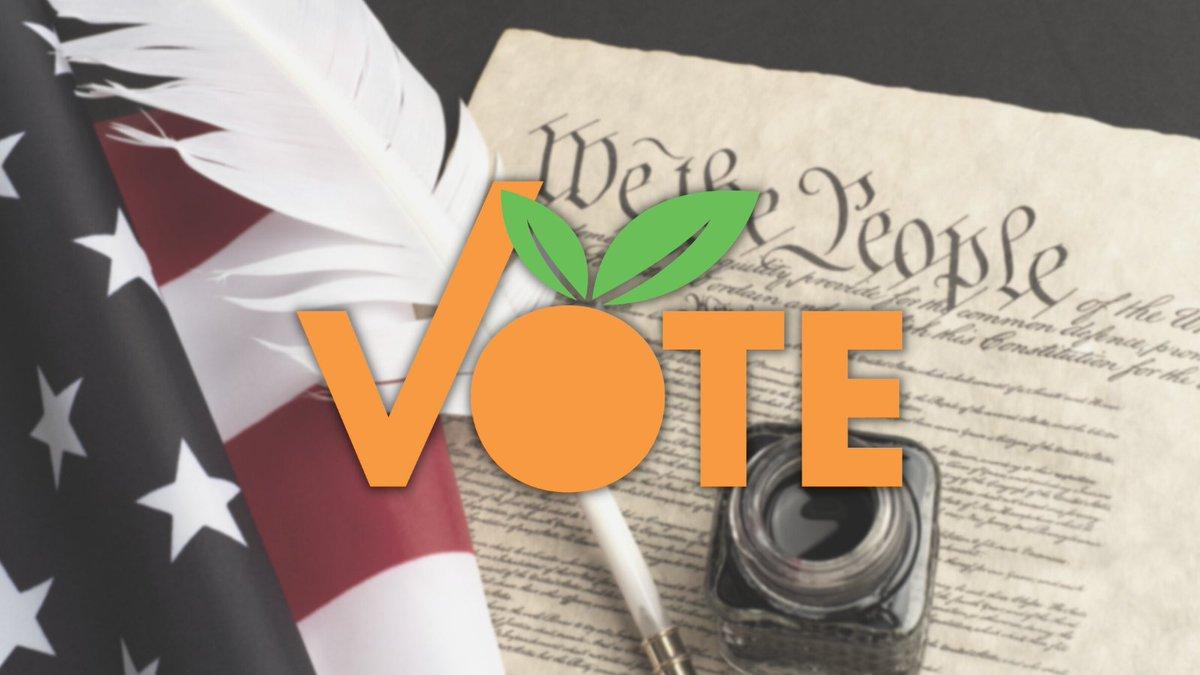 Fondo: la constitución con una botella de tinta y una pluma blanca encima, además de una bandera estadounidense doblada a la izquierda. Sobre la imagen se superpone el logotipo naranja de VOTE.