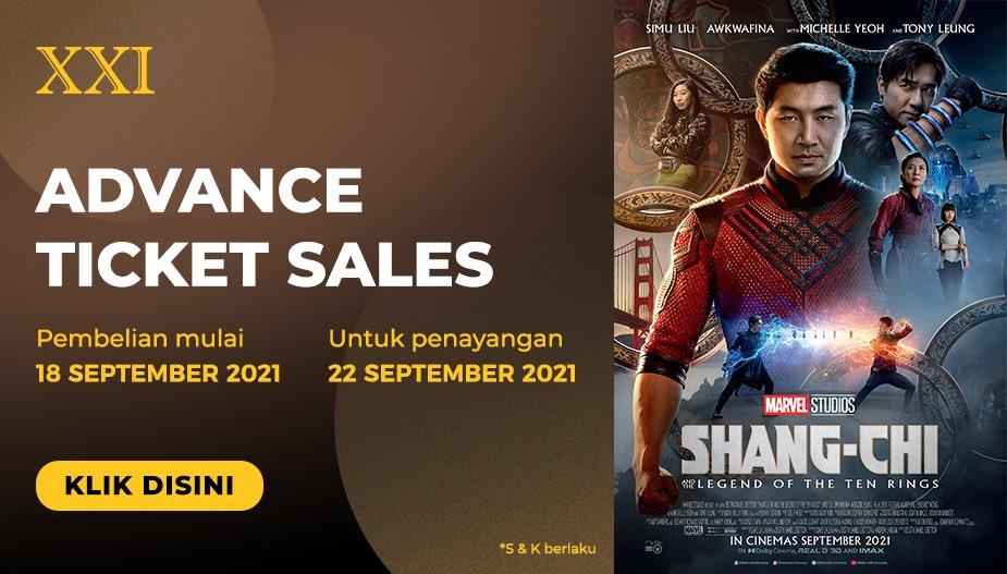 Ini dia kabar yang ditunggu-tunggu. Advance Ticket Sales Shang-Chi and the Legend of the Ten Rings. Tiketnya bisa kamu beli lewat M-Tix, Tix ID atau loket bioskop mulai BESOK!!!  Yeayy, cek saldo M-Tix kamu dan siap-siap amankan tiketnya.  #ASIKANkeBioskop #SelamatDatangSobatXXI https://t.co/lIvcbSDmZp