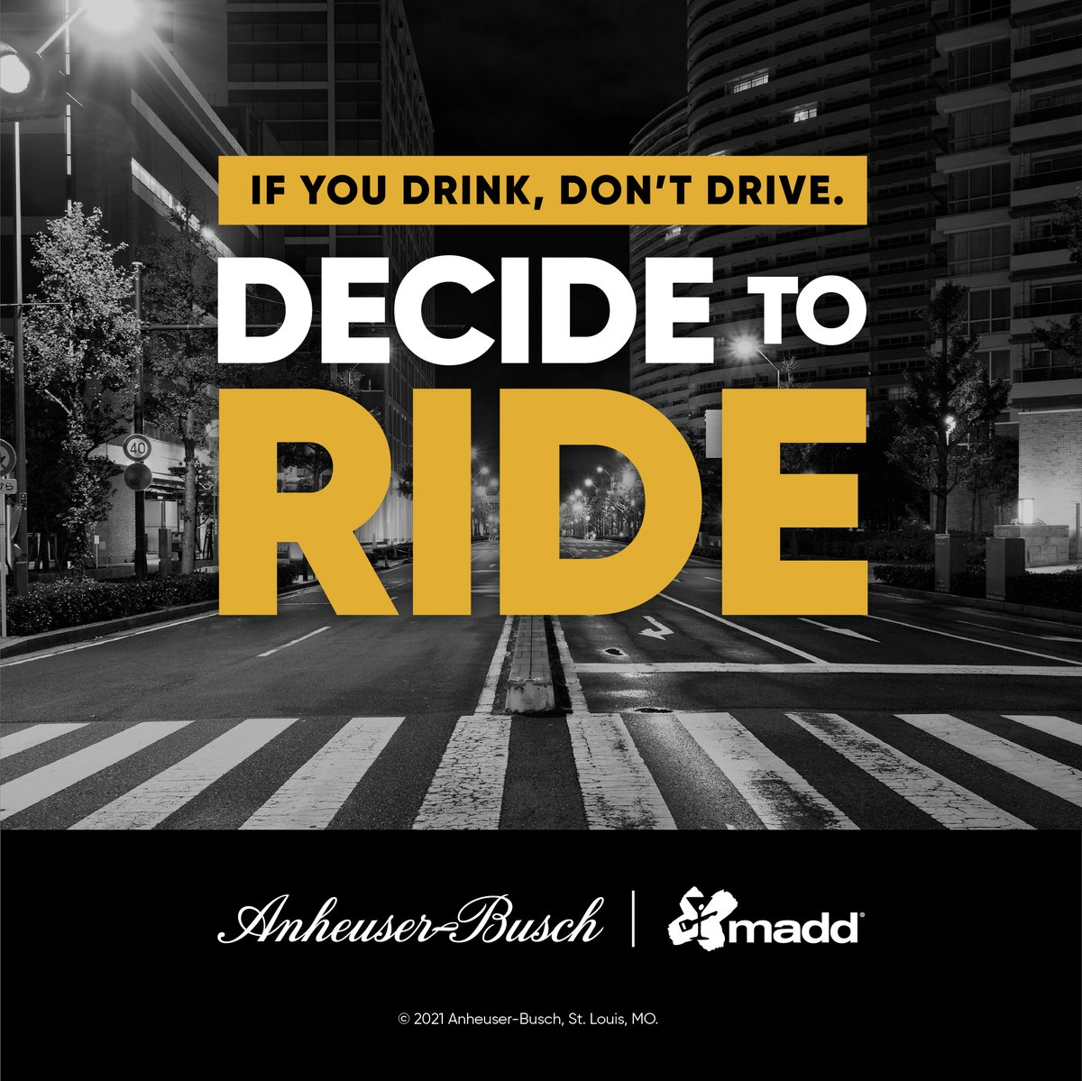 Help us put an end to drunk driving — plan ahead and #DecideToRide. Learn more about @budlight's partnership at decidetoride.com