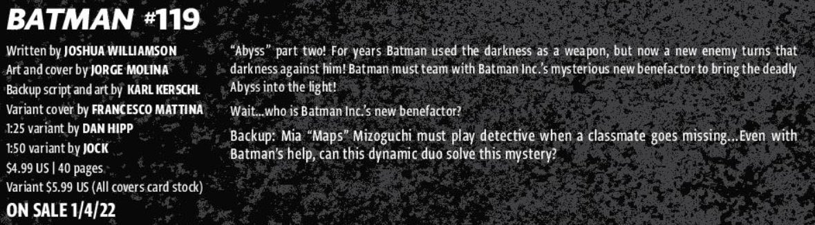 Finally solicited! I'm writing and drawing a 3-part backup story starting in Batman #119 featuring Batman and Maps Mizoguchi! Here's a sneak peek :) (This will eventually be in colour…)