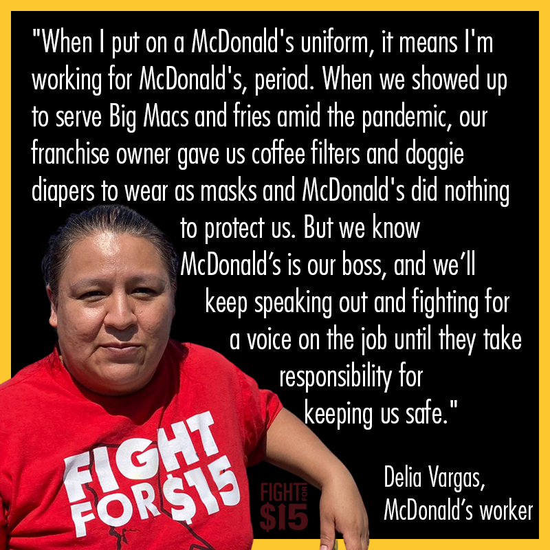 """JUST FILED: Workers are challenging the legality of a 2020 NLRB regulation that narrowed the definition of a """"joint employer""""  We know @McDonalds holds control - they shouldn't use loopholes to get out of their responsibility.  #FightFor15 bloomberg.com/news/articles/…"""
