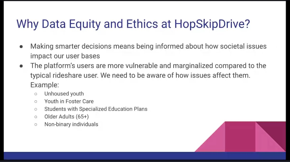 Slide from the Data Equity and Ethics session titled 'Why Data Equity and Ethics at HopSkipDrive?'