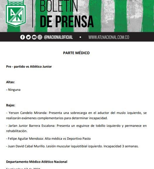 Sin Jarlan Barrera y Yerson Candelo, Nacional visitará a Junior de Barranquilla