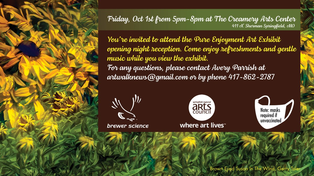 """test Twitter Media - Brewer Science, in cooperation with the Springfield Regional Arts Council, will be hosting an in-person """"Pure Enjoyment"""" art exhibit and opening reception at The Creamery Arts Center in Springfield, MO on October 1st.  https://t.co/Z8dUS8kXn1 https://t.co/3DEMRygc9b"""