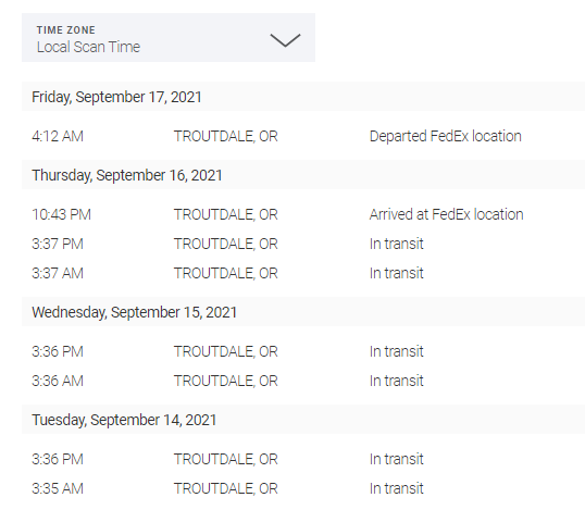 Note to self: Don't move to Troutdale, apparently the traffic is so bad you'll be in it for 3 days straight, at least according to FedEx.