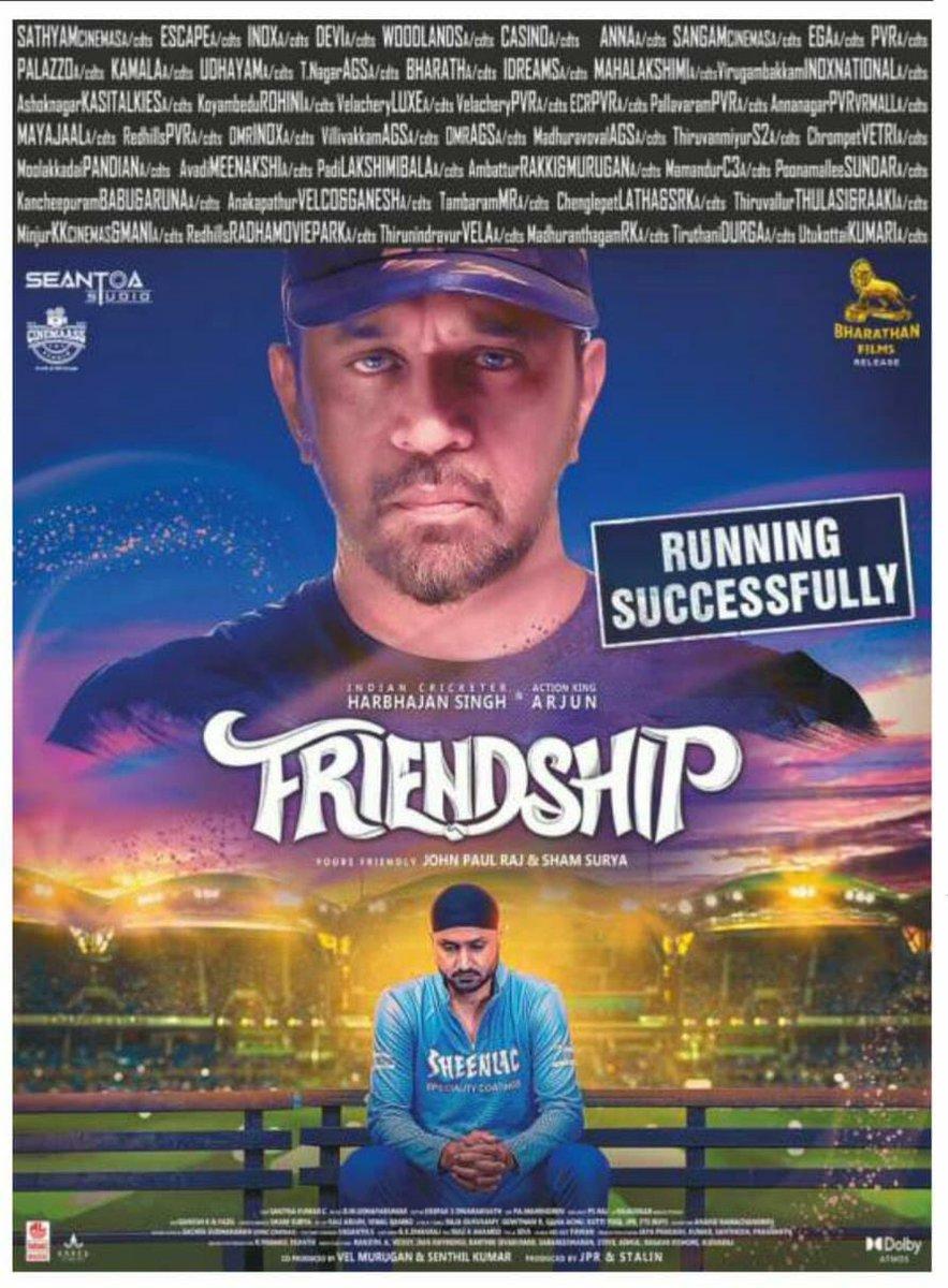 #Friendship - A campus thriller and about women safety.  Now in cinemas.  #FriendshipSixerHIT  @harbhajan_singh @akarjunofficial #Losliya @actorsathish @JPRJOHN1 https://t.co/TRyr7Ta7yk