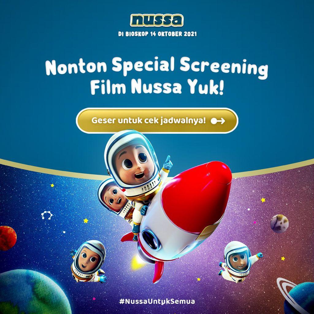 Halo, kakak-kakak! Nonton special screening #FilmNussa yuk 😊 asik banget nih bisa nonton duluan di beberapa lokasi berikut!  Beli tiketnya bisa langsung lewat M-Tix yaa. Siapa yang udah gak sabar nih? Ayo mention temanmu biar gak ketinggalan infonya!  #ASIKANkeBioskop https://t.co/5oP2sjNMmi