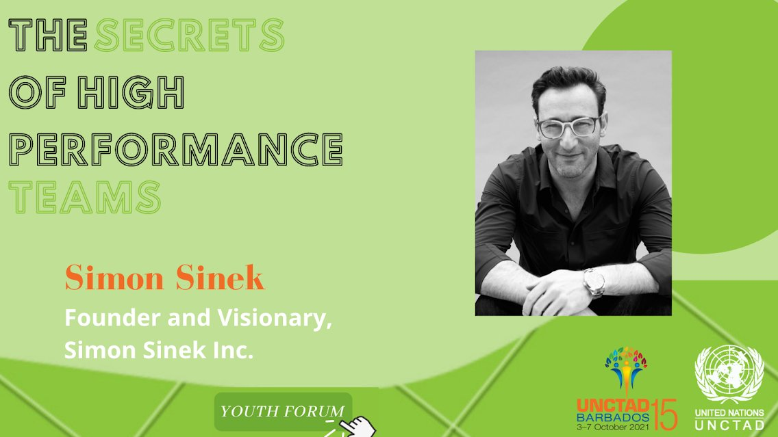 """🗓️Today! ⏰14:05pm CEST What role do trust and relationships play in shaping #future leaders? """"True service is the service to those around us,"""" says optimism champion @simonsinek, soon at #UNCTAD15 Youth Forum📺✨ Registration mandatory➡️ bit.ly/3lqTn9C"""