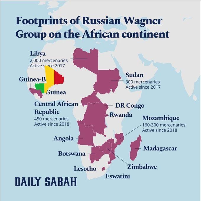 Африканские страны, где отмечалось военное присутствие ЧВК `Вагнер` и которым приписывали контакты с этой ЧВК.