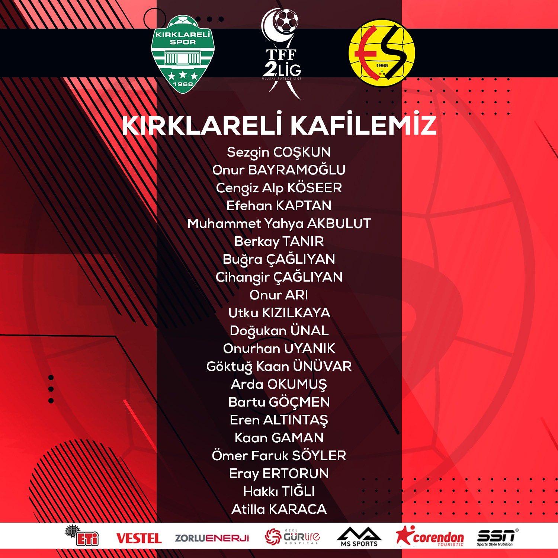 ESkişehirspor'un Kırklarelispor kafilesi belli oldu