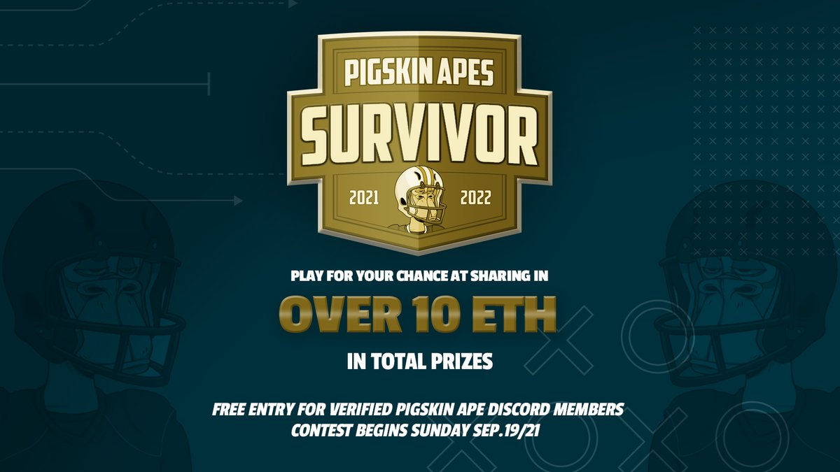 Have exciting news to share this morning! Introducing the inaugural 2021/22 Pigskin Ape Survivor Pool! This year's contest will be open to verified members of the Pigskin Ape Discord only and will entry will be free. Contest starts tomorrow am so if want in you best hurry!