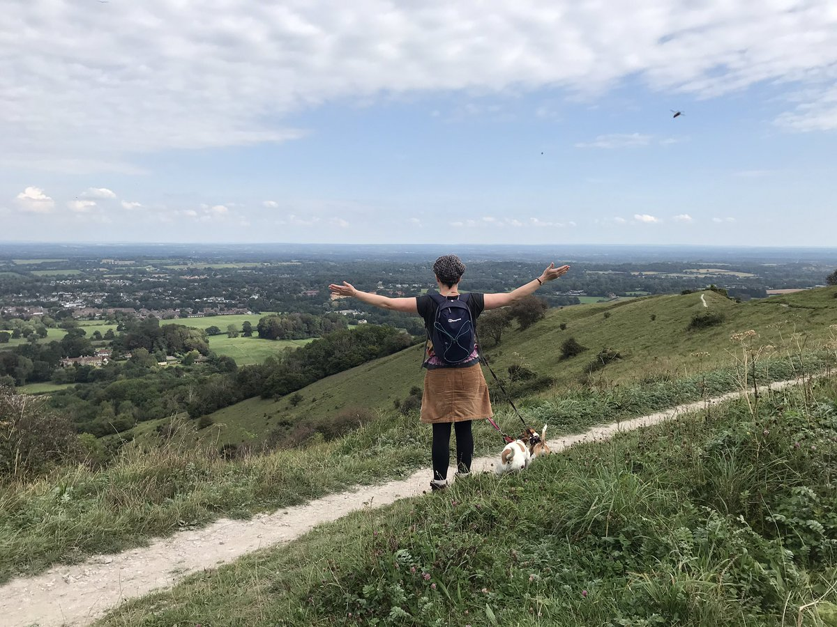I made it up into the hills today! Here I am being Hag 'o' the South 😁 So good to blow the cobwebs away. #SouthDownsWay #KithurstHill #dogwalking