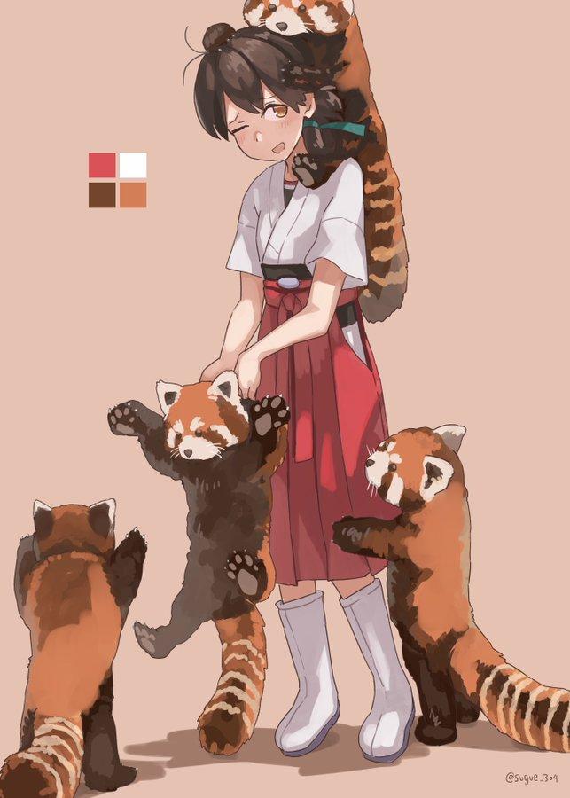 【艦これ】レッサーパンダに囲まれる春日丸 他なごみネタ