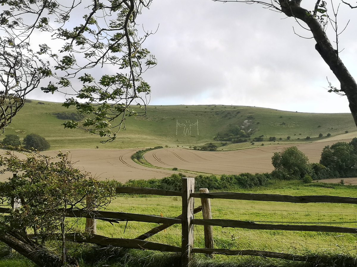 Can think of worse places to be working but this fella seems to be keeping an eye on me  The Long Man of Wilmington  #southdowns #southdownsway