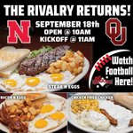 OPEN AT 10AM TODAY! Nebraska vs Oklahoma at 11am, the rivalry returns!   Join us for breakfast & let's get pumped up for the big game! 🍳🥓😁🏈