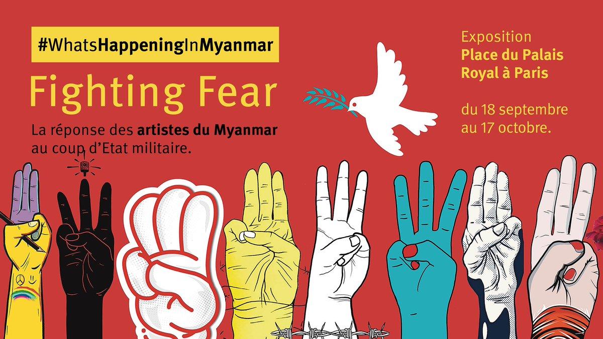 L'#exposition Fighting Fear #WhatSHappeningInMyanmar s'installe du 18/09 au 17/10 Place du Palais Royal à #Paris. Y sont présentées des oeuvres d'artistes birmans réalisées suite au coup d'État et à la répression sanglante des manifestants en février 2021 #Birmanie #Myanmar 👇