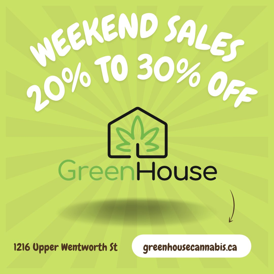 GreenHouseHamOn: #HamOnt , you're not going to want to miss this!   We have sales on over 30 products to make room for some killer restocks and new drops next week!   Run. Don't walk. Our bud tenders are waiting for you. 🍃 💨   #CannabisCommunity #cannabisculture #Hamilton #cannabisindustry