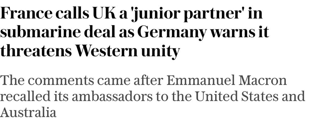 Like France isn't Germany's junior partner, and Germany hasn't taken an axe to Western unity with its Russia and China policies.