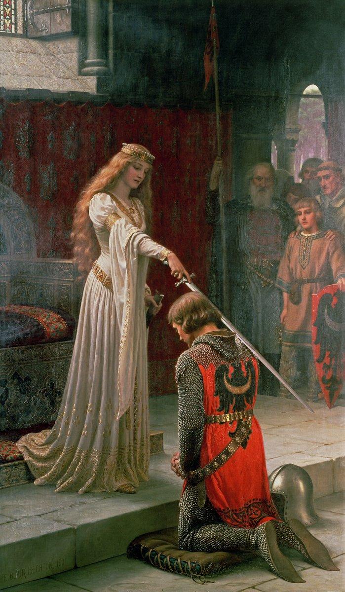 """1. Özellikle orta çağ dönemini konu alan ve izleyiciyi """"ânın içine çeken"""" resimleriyle meşhur İngiliz ressam Edmund Blair Leighton'dan, genç bir kraliçeyi, bir askeri şövalye ilân ederken resmettiği Şövalyelik Töreni."""