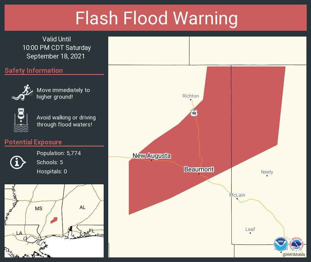 Image posted in Tweet made by NWS Mobile on September 18, 2021, 9:01 pm UTC