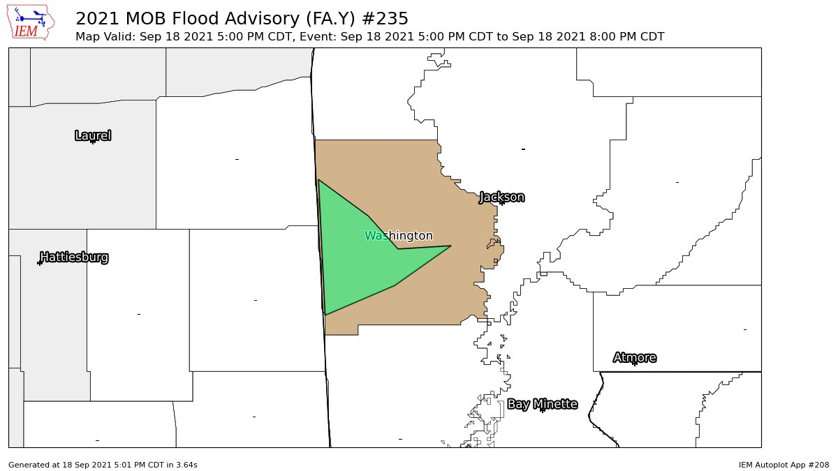 Image posted in Tweet made by NWS Mobile on September 18, 2021, 10:01 pm UTC
