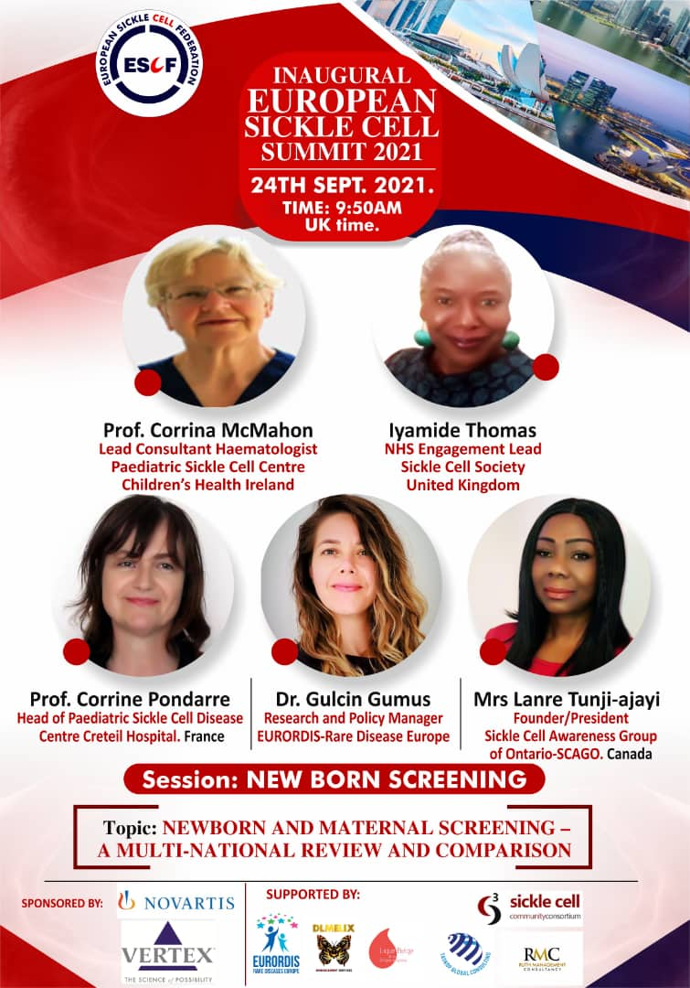 Great team line up for a presentation and discussion on the urgent need for a#Universal #newbornscreening program for #SickleCellDisease in Europe.  Join us this September 24th at 9.40 am GMT to learn more. Registration is OPEN!! CLICK THE LINK BELOW👇🏾👇🏾  https://escfederation.eu/european-sickle-cell-disease-summit/#1631308476150-c8e53df9-584a
