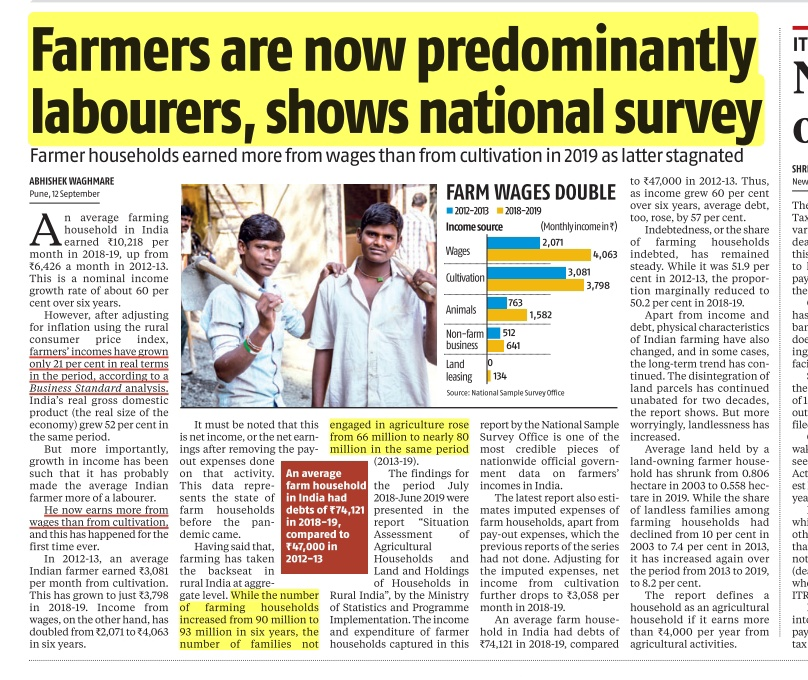 # Farmers Income   - farmers earn less from agriculture when compared to wage labour.  - number of households not indulged in agriculture has increased from 66mn to 80mn in six-year period (2013-19).   #upsc #Farmers_RoaringInUP  S  🪔 Get the UPSC App t.ly/9pv6