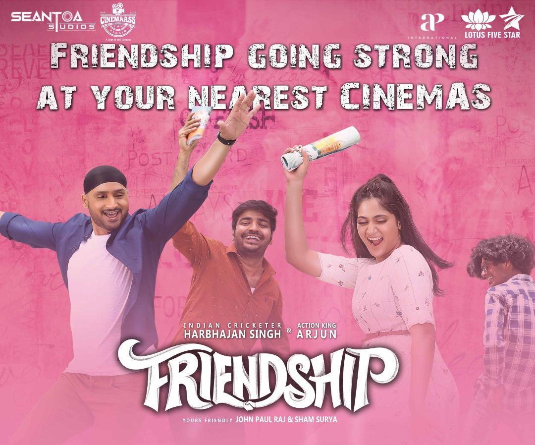 #Friendship, maintaining an unbreakable bond!   Do not miss the Friendship which is going strong at selected cinemas.   @akarjunofficial @harbhajan_singh @actorsathish  #LotusFiveStarAV #LotusFiveStar #Losliya https://t.co/UjNP0ZzFyn