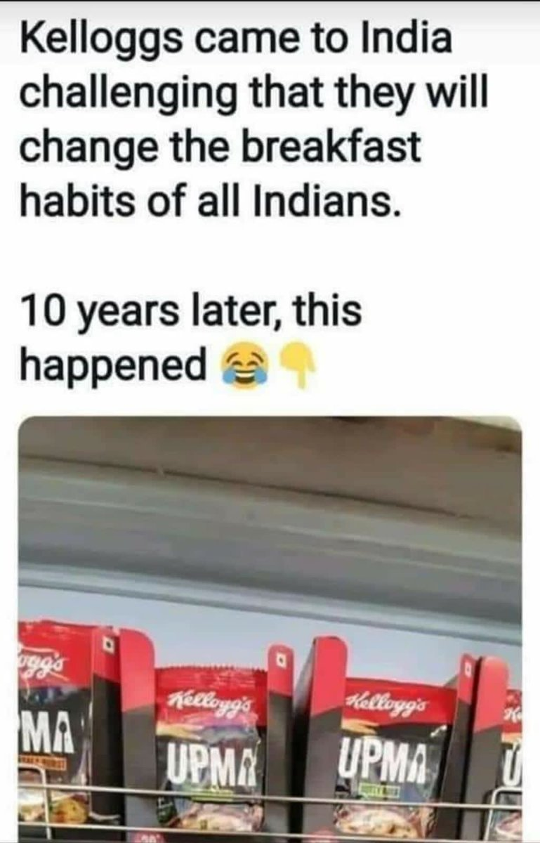 @anandmahindra: Kellogg's has been here for longer than a decade. So this is dated but the meme is going around now. And the sentiment endures. Never underestimate the power of our local 'champions.'