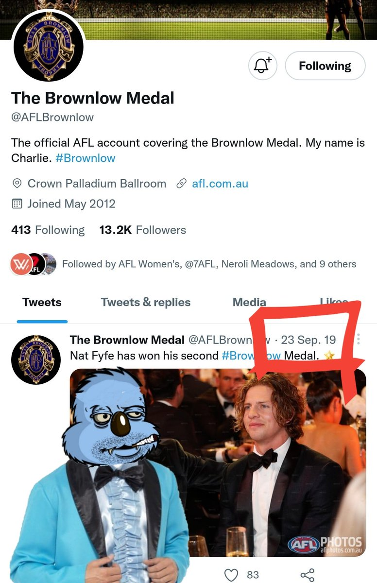 Jesus, even the official brownlow twitter gave up two years ago. #longnight #wheresnadia  #russngusbrownlow #brownlow #brownlowmedal  #swannytweets