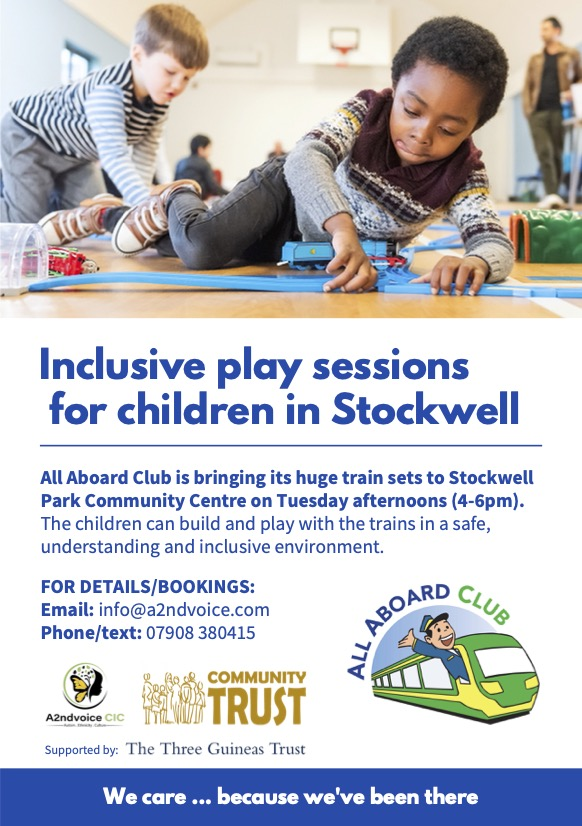 We delighted that @allaboardclub be hosting an inclusive fortnightly (4 to 5.30pm (not 6pm)) event at @StockwellParkCT as part of our Autism Afterschool Club on our Tuesday session commencing 4 to 7pm. eventbrite.co.uk/e/inclusive-tr…