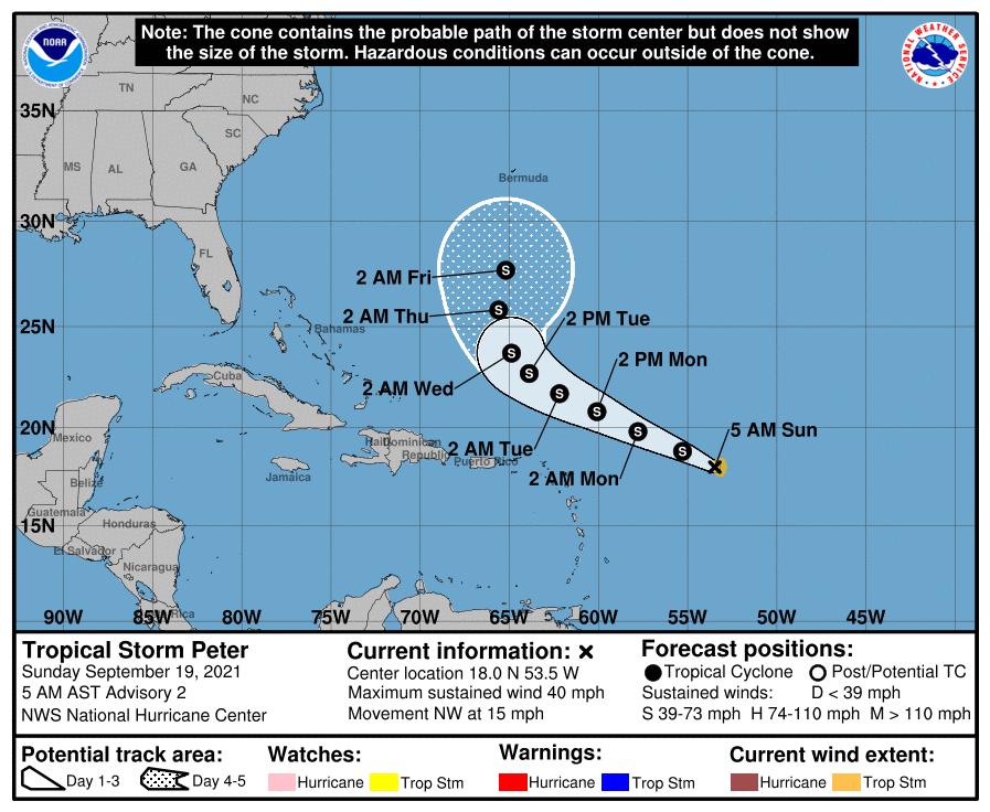La tempête tropicale #Peter est née au large des Antilles ce dimanche. Il s'agit du 16ème système nommé cette saison dans l'Atlantique.