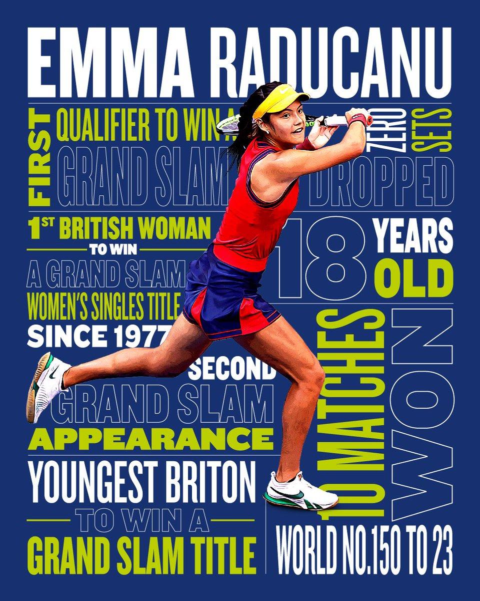 İngiltere Tenis Federasyonu LTA, rekorlar kırıp tarih yazan genç sporcusu Emma Raducanu için çok güzel bir grafik çalışma yapmış 👇