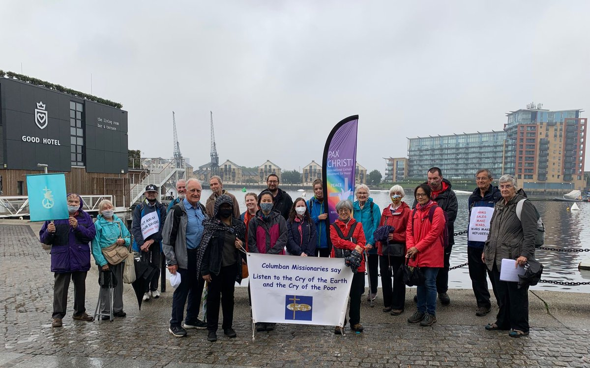 Pax Christi's Peace Pilgrimage - walking to protest against the London Arms Fair. Deadly weapons on sale that kill, maim and destroy people's livelihoods. #stopthearmsfair @ICN_UK @NJandPNetwork @Quakers_RoR @ellispoint0 @BritishQuakers @CoventryQuakers @ColumbansUK @Passionists