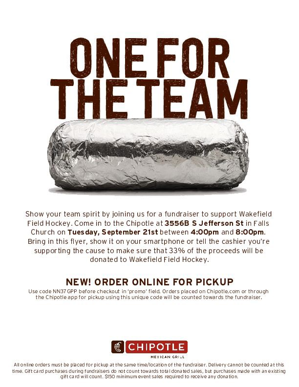 RT <a target='_blank' href='http://twitter.com/Wakefield_FH'>@Wakefield_FH</a>: Come support Wakefield Field Hockey at Chipotle on Tuesday  September 21st between 4-8pm 💚🏑 <a target='_blank' href='https://t.co/h8vupGU139'>https://t.co/h8vupGU139</a>